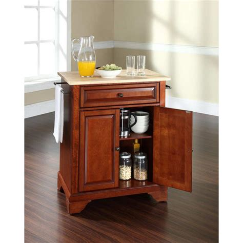 white kitchen island with natural top crosley furniture lafayette natural wood top portable