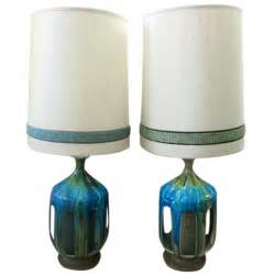 Midcentury Modern Lighting - pair of large drip glaze mid century lamps original shades at 1stdibs