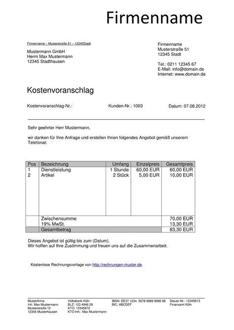 Design Vorlagen Rechnungen Kostenvoranschlag Vorlagen Kostenlos Downloaden