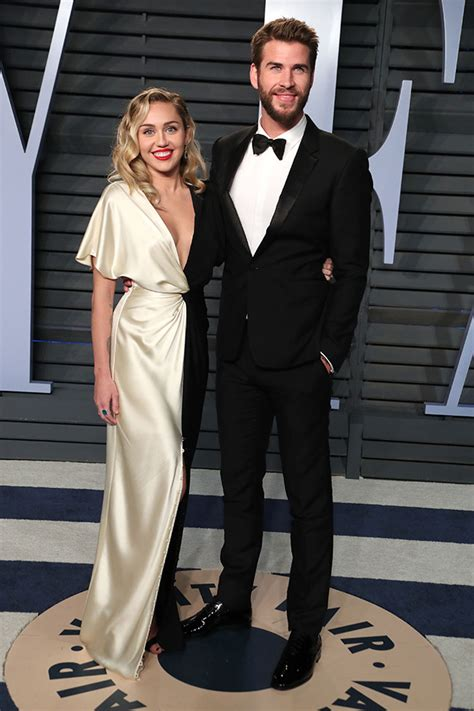 Vanity Fair Sweepstakes - miley cyrus and liam hemsworth from 2018 vanity fair oscars after party e news