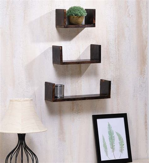 wall shelves pepperfry onlineshoppee wooden wall shelf set of three by