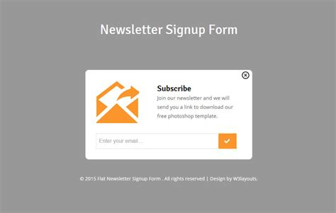 Newsletter Signup Form Template newsletter signup form responsive widget template