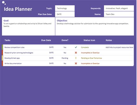 idea template 5 day trip planner office templates