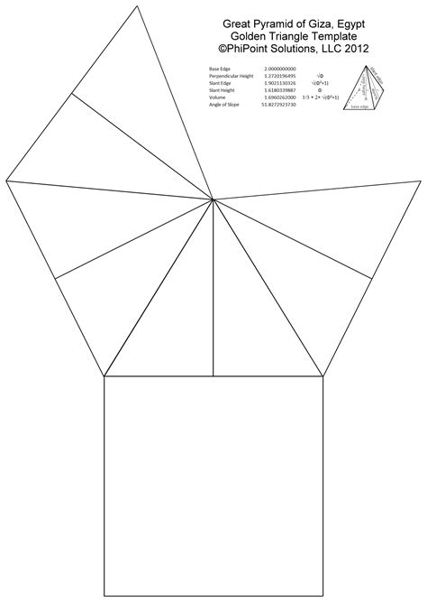 How To Make A Three Sided Pyramid Out Of Paper - phi pi and the great pyramid of at giza the