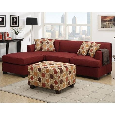 dark red sectional sofa poundex bobkona winfred 2 piece reversible sectional sofa