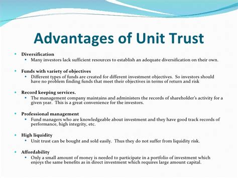 what is in unit unit trust learning goals understand what is unit trust