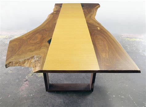 Live Edge Dining Table For Sale Sentient Live Edge Black Walnut Slab Dining Table With Oak Veneer For Sale At 1stdibs