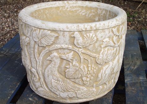 Wide Planters Large Tub Planter With Woodland Stag Pheasant