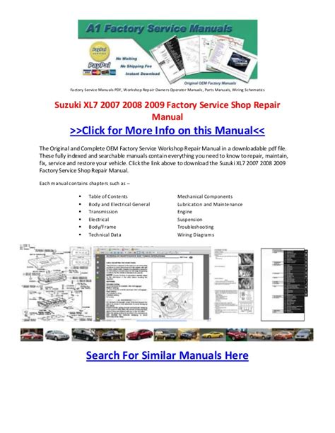 Suzuki Xl7 2007 Owners Manual Suzuki Xl7 2007 2008 2009 Factory Service Shop Repair Manual