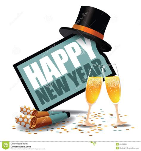 happy new year icon happy new year icon with blowers and top hat stock