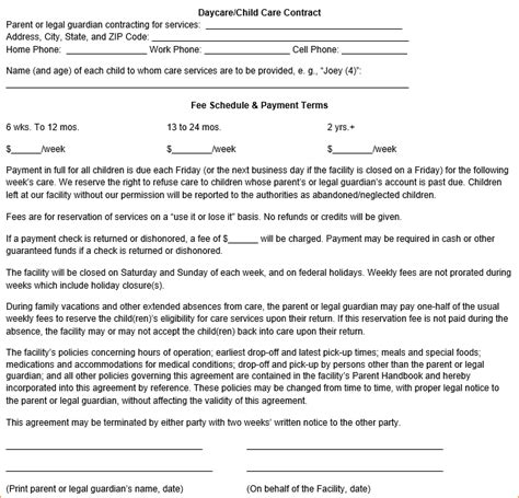 daycare contract template 8 daycare contract template timeline template