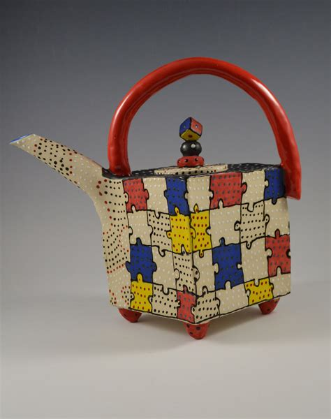 primary puzzle teapot by vaughan nelson ceramic teapot