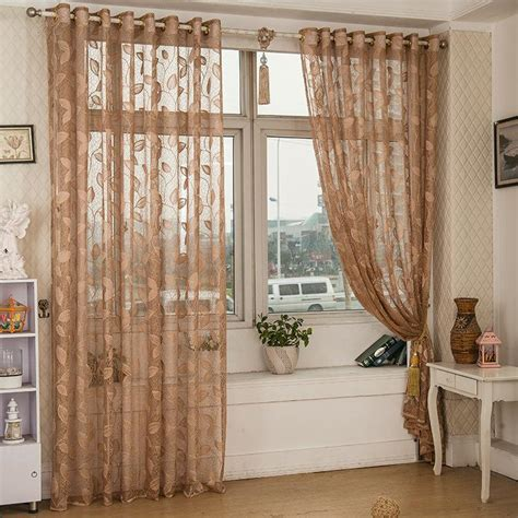 Half Curtains For Bedroom 2 Panel Breathable Half Black Out Voile Sheer Curtains