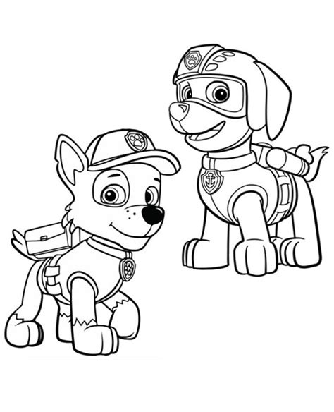 paw patrol spring coloring pages zuma and rocky paw patrol image