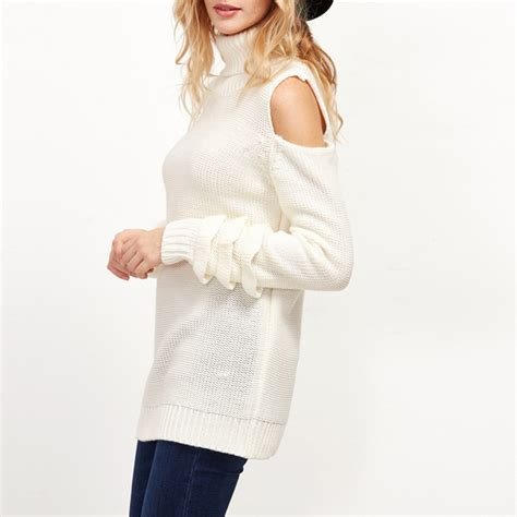 Hq 12315 White Low Shoulder Knit Top white turtleneck cold shoulder ruffle layered sleeve sweater pullover tops ebay