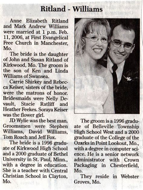 Wedding Announcements Newspaper by Archives Markandanne