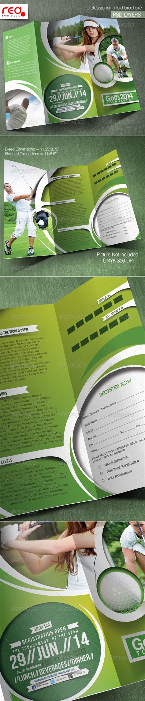 golf tournament trifold brochure template by
