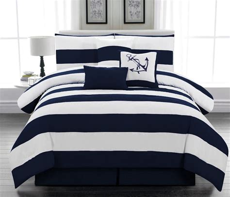 7 Pcs Microfiber Nautical Comforter Set Navy Blue Striped