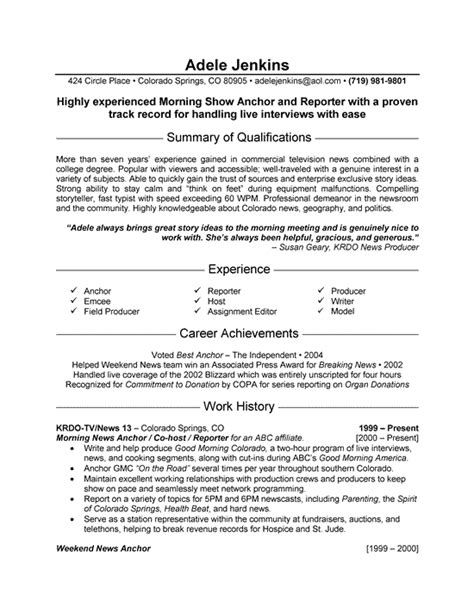 Resume Format For Journalist News Reporter Resume Exle