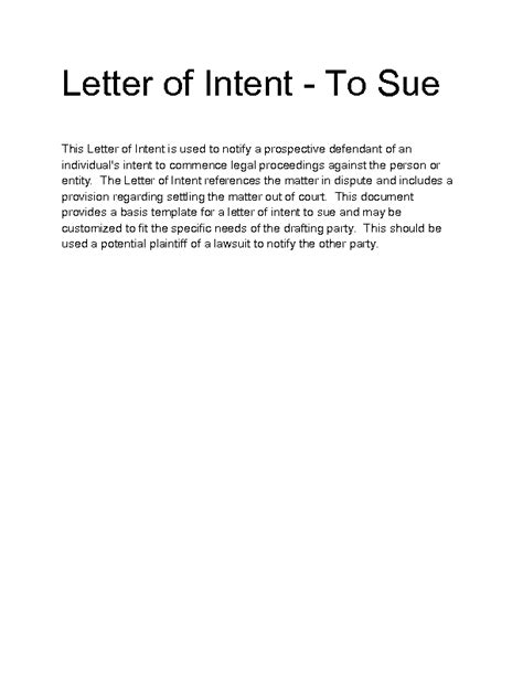 Sle Letter Of Intent To Loan Intent To Sue Letter Template 28 Images Official Letter Of Intent To Sue Permissible Purpose