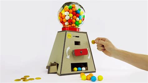 How To Make A Paper Gumball Machine - diy gumball machine money operated from cardboard at home