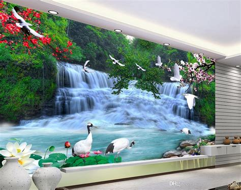 acheter hd belle chute deau paysage fond mural  papier