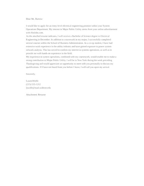 Entry Level Electrical Engineering Cover Letter Samples