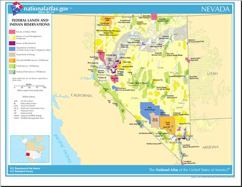 nevada in the map of usa map of nevada map federal land and indian reservations