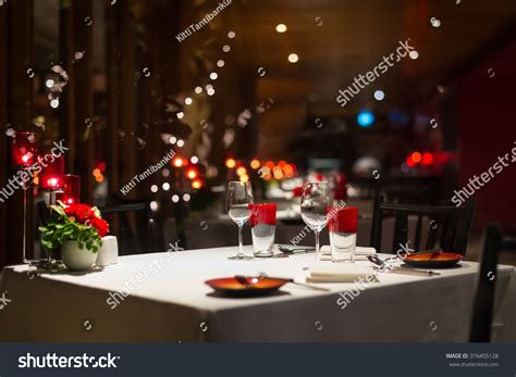 dinner setup decoration with candle light in