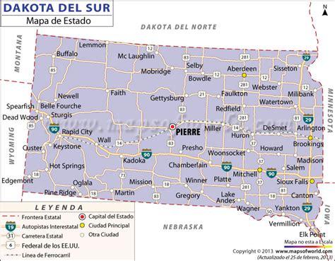 road map of south dakota usa el mapa estado de dakota sur estados unidos de