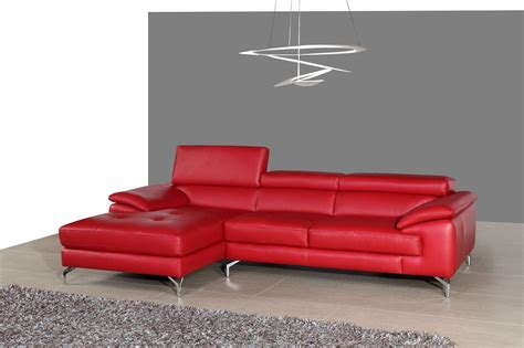 red sectional with chaise a973b red italian leather mini laf chaise sectional from j