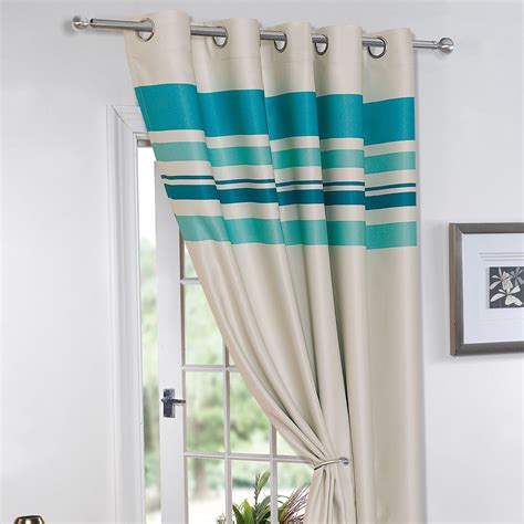 striped thermal curtains striped ring top lined pair eyelet ready made thermal