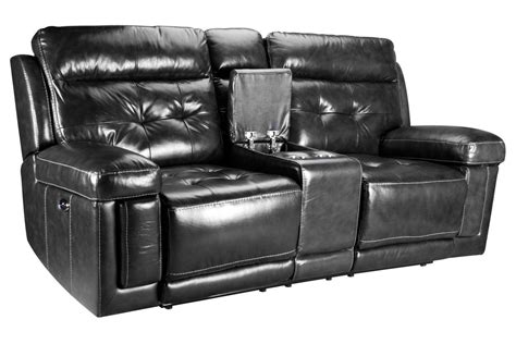 Power Reclining Leather Loveseat With Console by Dusty Leather Power Reclining Loveseat With Console