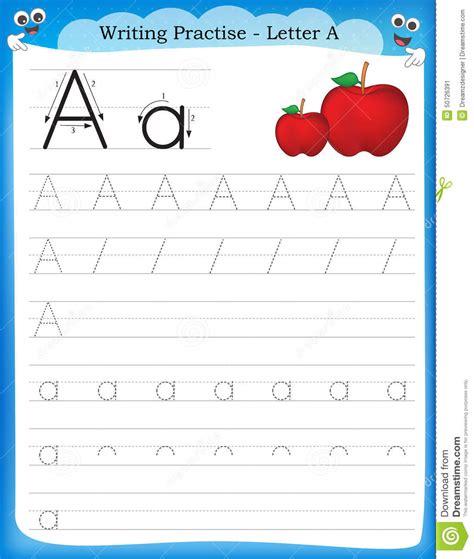 Writing practice letter a printable worksheet for preschool