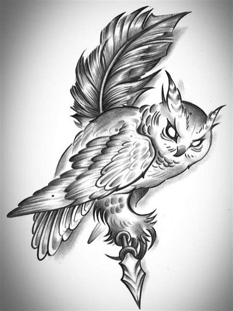owl feather tattoo designs white evil eyed owl sitting on feather design