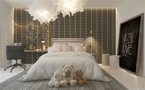 modern girls room stylish girl s room with a patterned headboard wall digsdigs