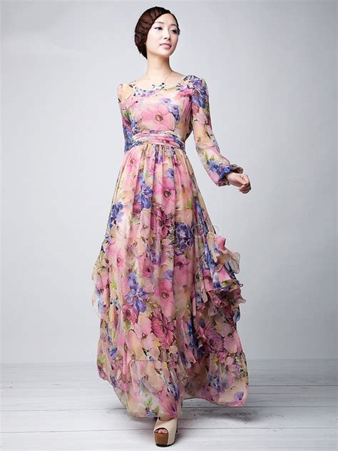 Gamis Abaya Maxi Zara Pink pink floral printed chiffon maxi dress milanoo