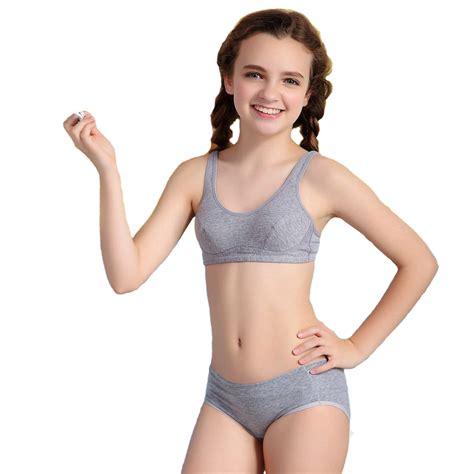 training bra junior girls in panties 2016 puberty girls kids padded bras and matching pants