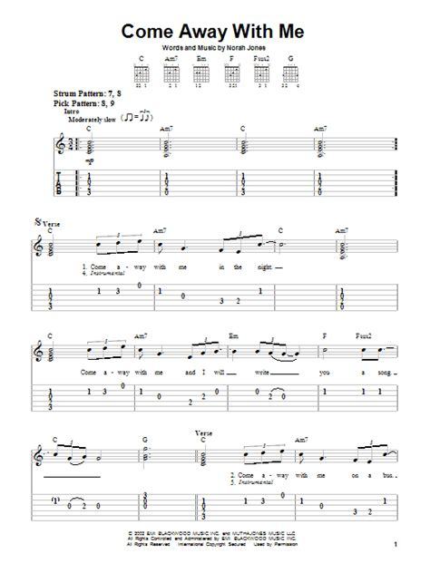 Come Away With Me Guitar Chords