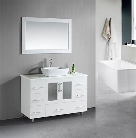 white modern bathroom vanity design element stanton vessel single 48 inch modern