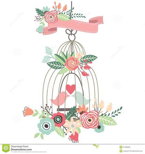 Birds Wedding Clipart by Vintage Wedding Floral Birdcage Vector Illustration