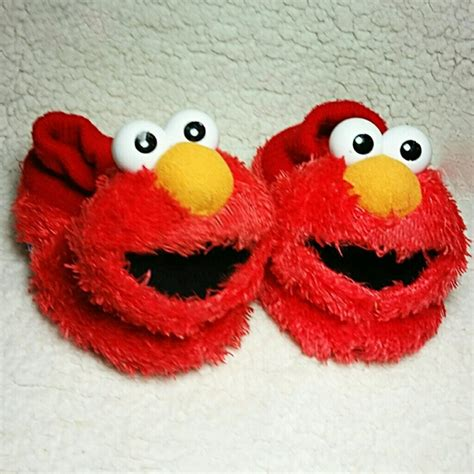 elmo house slippers 40 off other elmo fuzzy socktop slippers house shoes from a treasure box