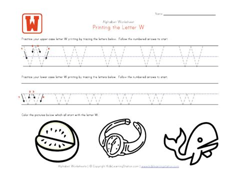 Letter W Worksheets by Traceable Alphabet Letter W Worksheet Learning Station