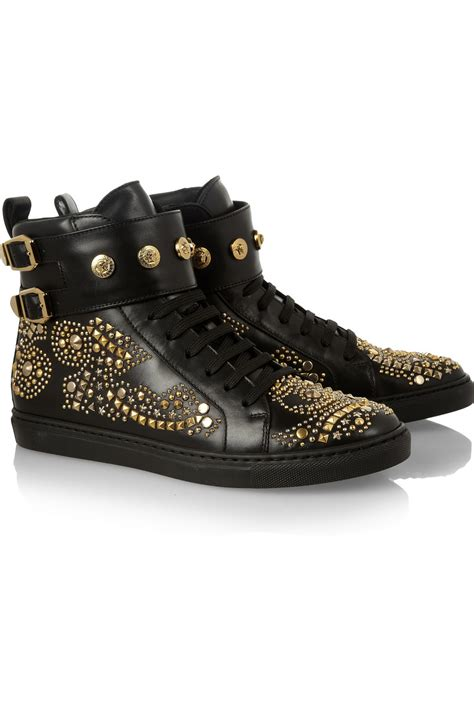 versace studded high top sneakers versace studded leather high top sneakers the