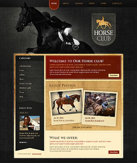 horse templates for photoshop template 28931 horse club website template
