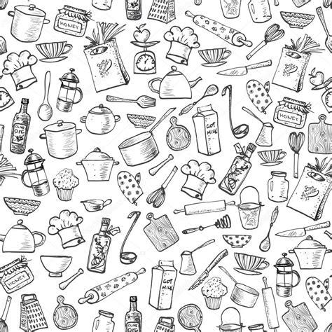 sketch pattern vs feature pattern kitchen doodle sketch utensils vetor de stock