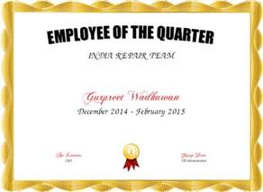 Employee Of The Quarter Certificate Template employee of the quarter certificate created with