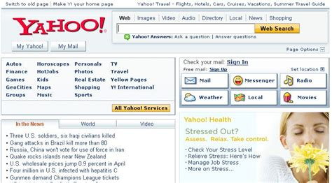 old yahoo layout yahoo s new homepage
