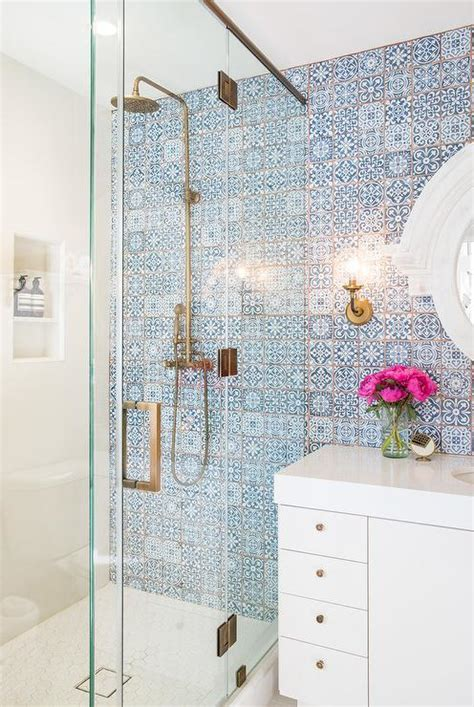 decorative bathroom tile white lacquered bath vanity with blue mosaic moroccan