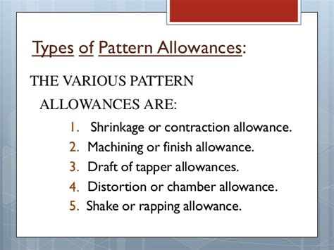 pattern shrinkage allowance pattern allowances in metal casting